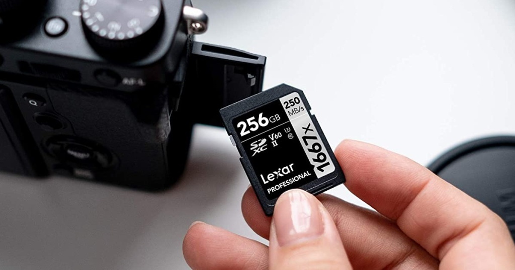 lexar USB in hand above camera