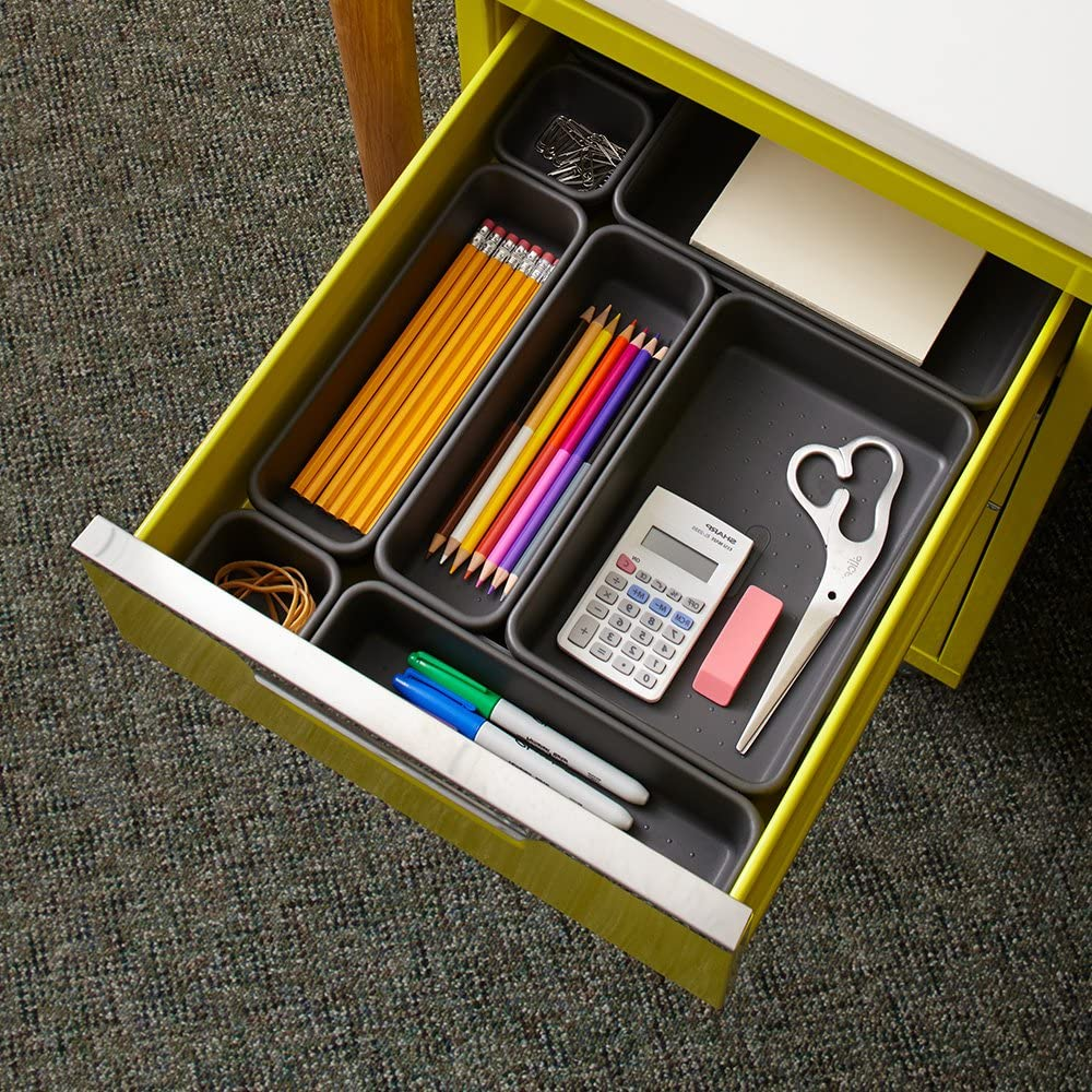 madesmart bins in drawer shown in office drawer