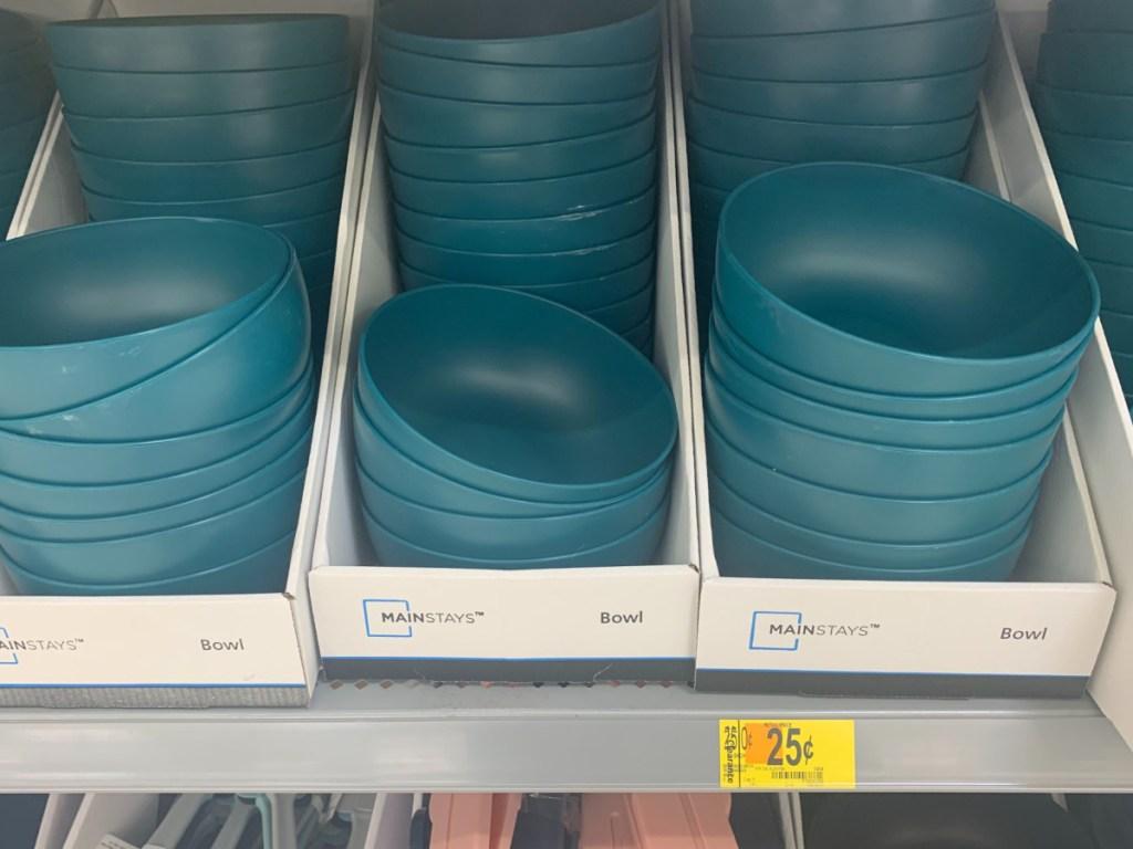 blue plastic bowls on store shelf