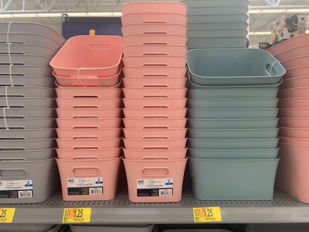 different colors small storage bins on store shelf