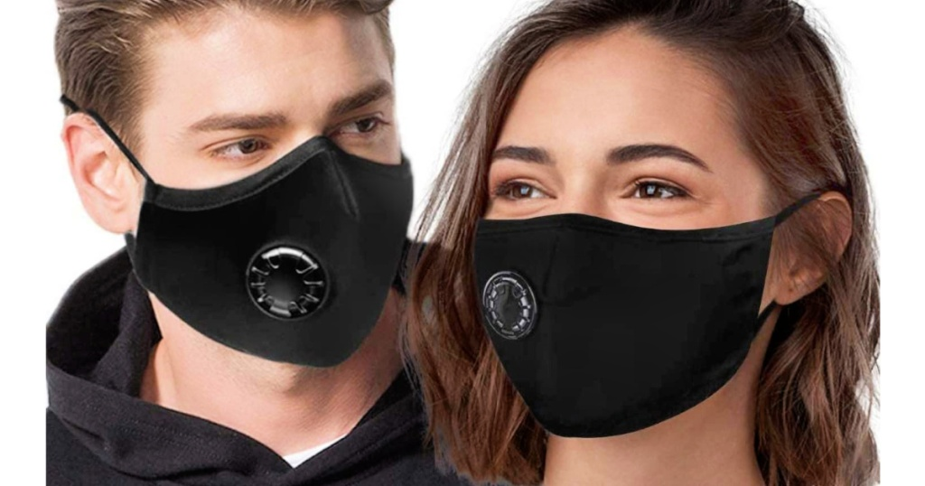 man and woman wearing black Face Masks with Breathing Valves