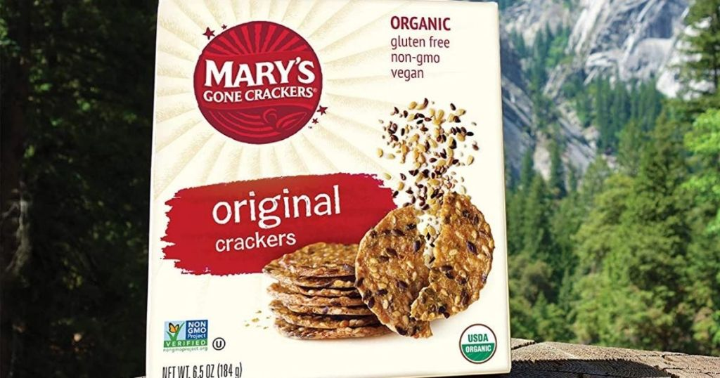 Mary's Gone Crackers Original box with mountains in background
