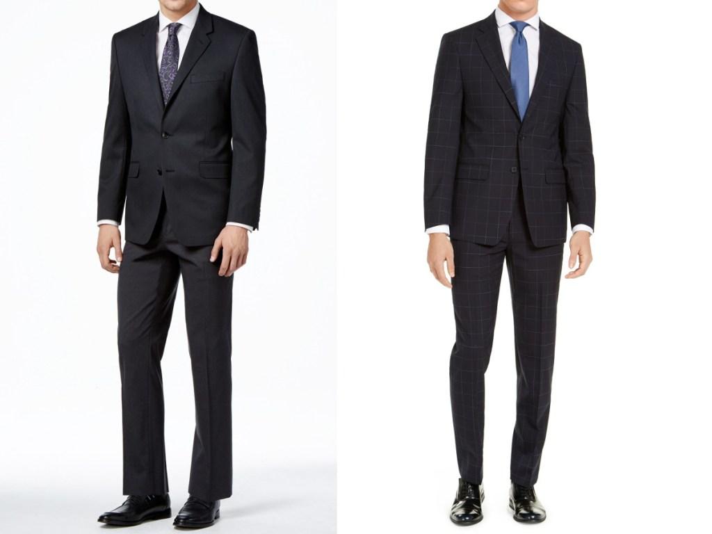 men in black suit and black suit with plaid stripes