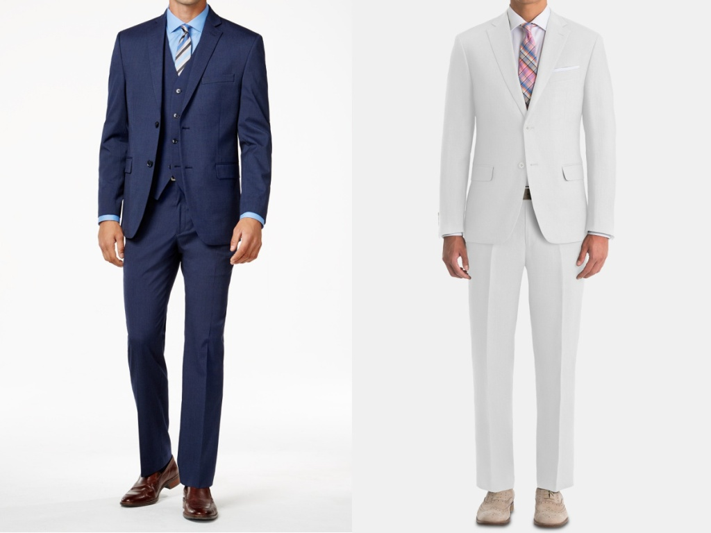 men in blue suit and white suit
