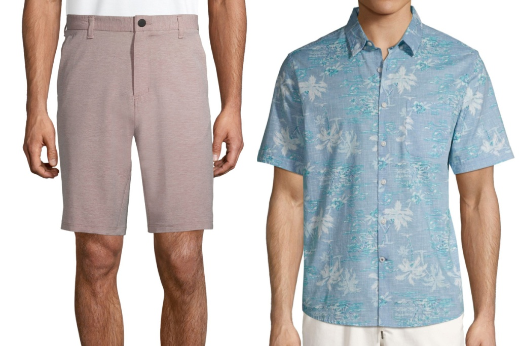 mens apparel shorts and button down