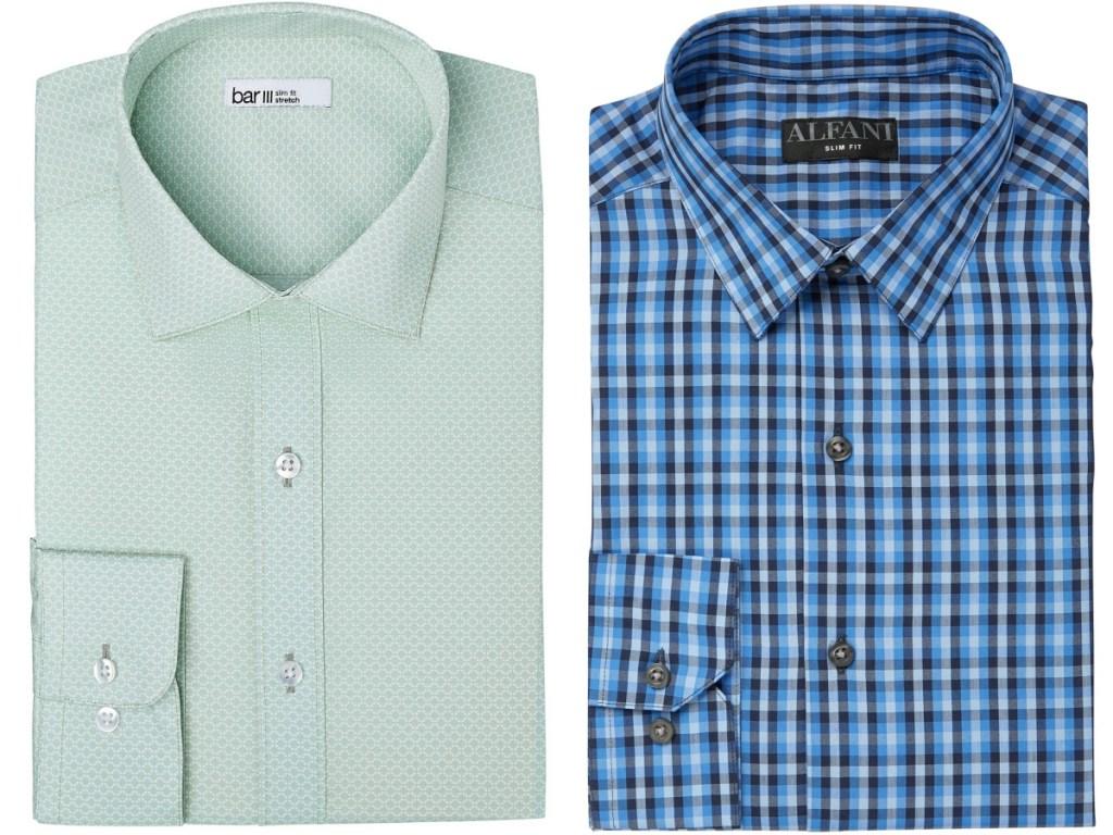 mens green link print and blue plaid dress shirts