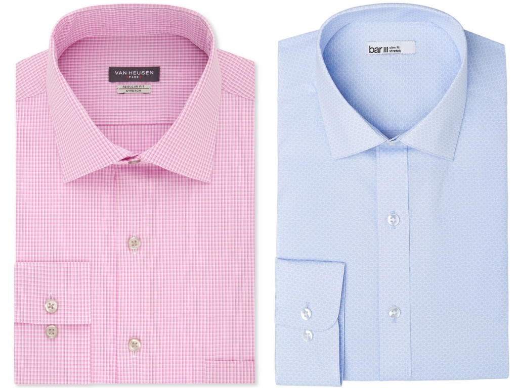mens pink checkered and blue dress shirts