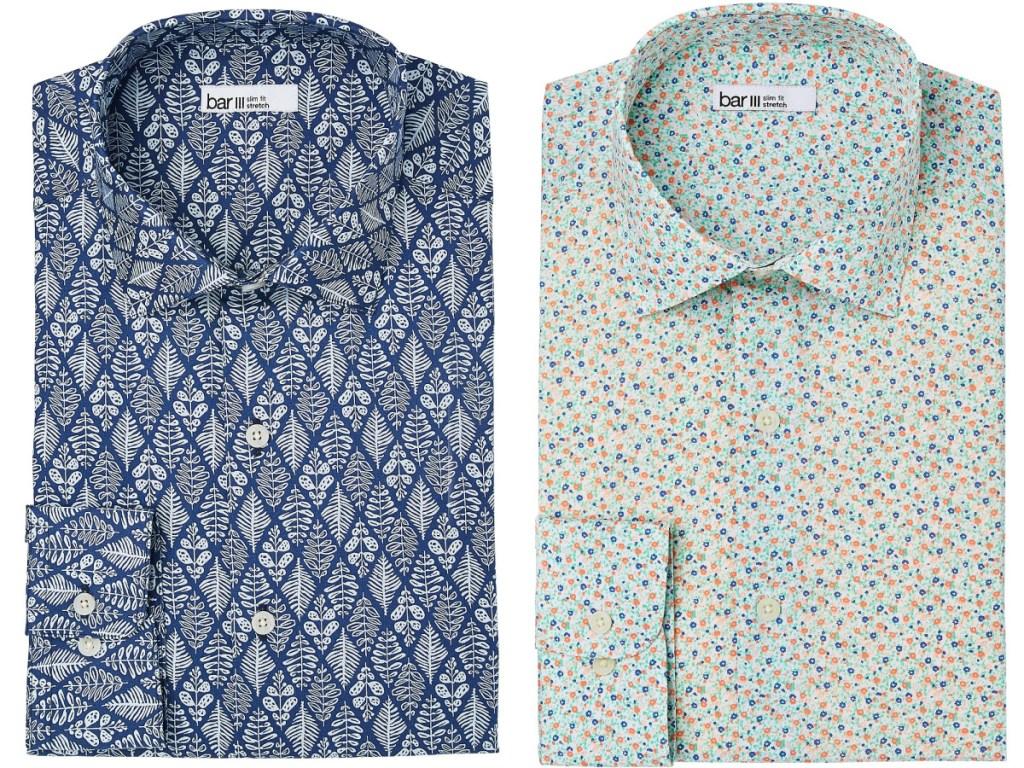 mens blue paisley and green floral dress shirts