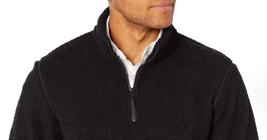 mens quarter zip fleece from the neck up
