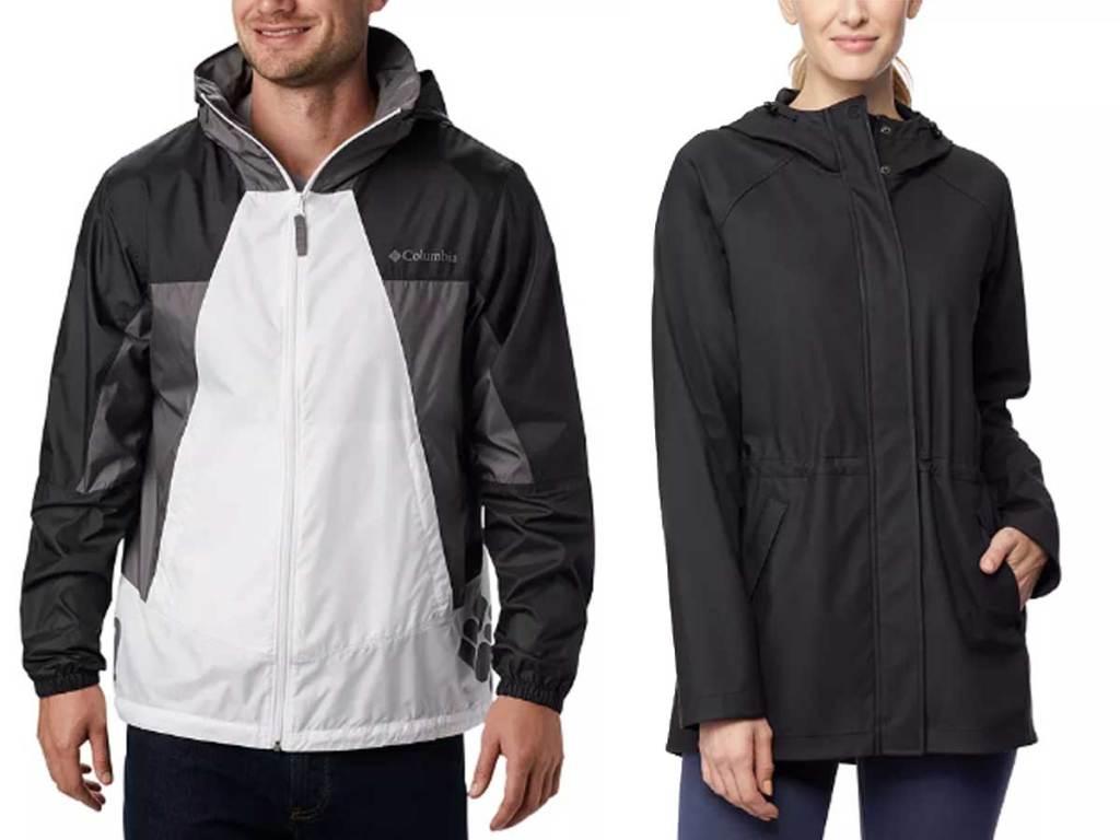columbia men's windbreaker and women's rain coat
