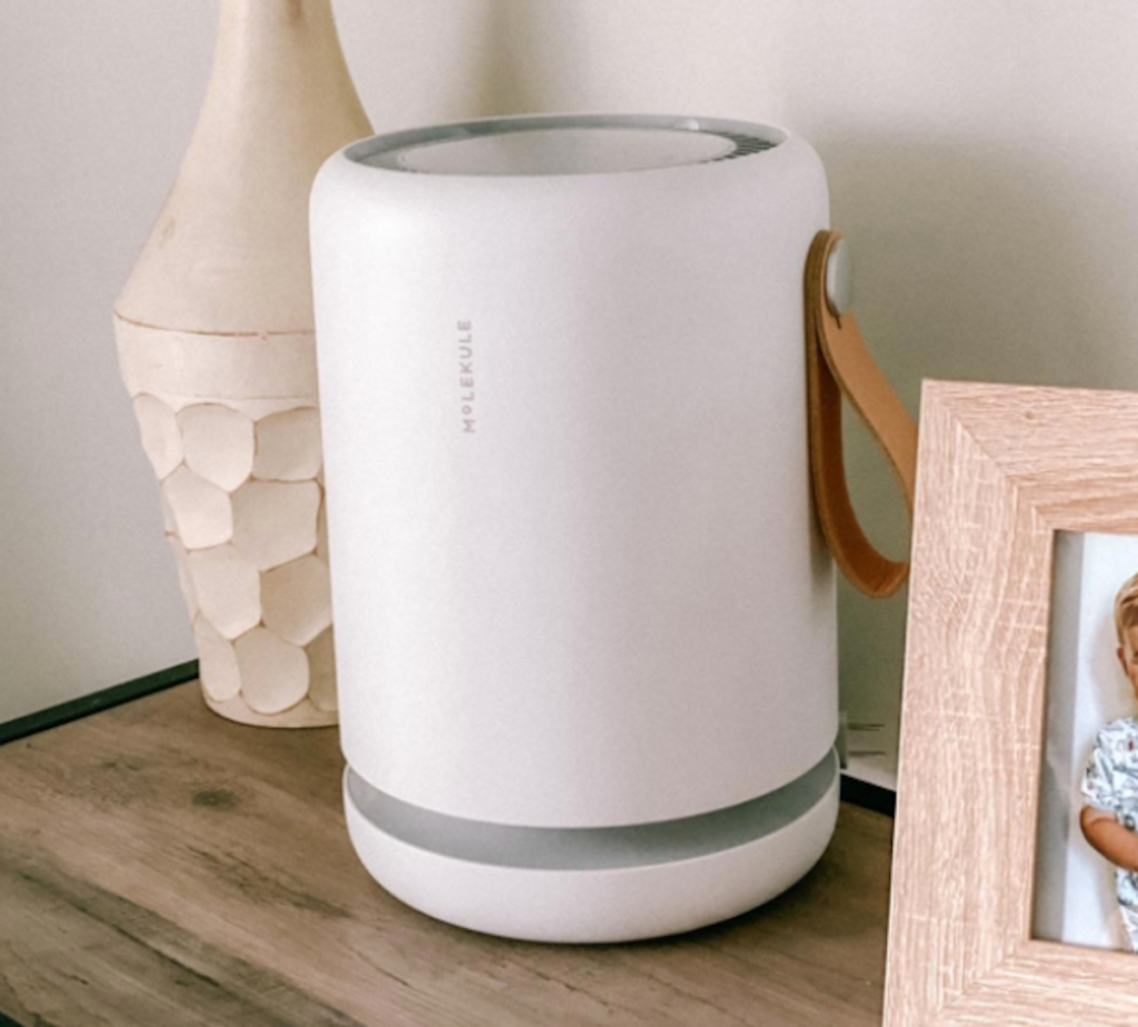 white molekule air purifier on table with picture