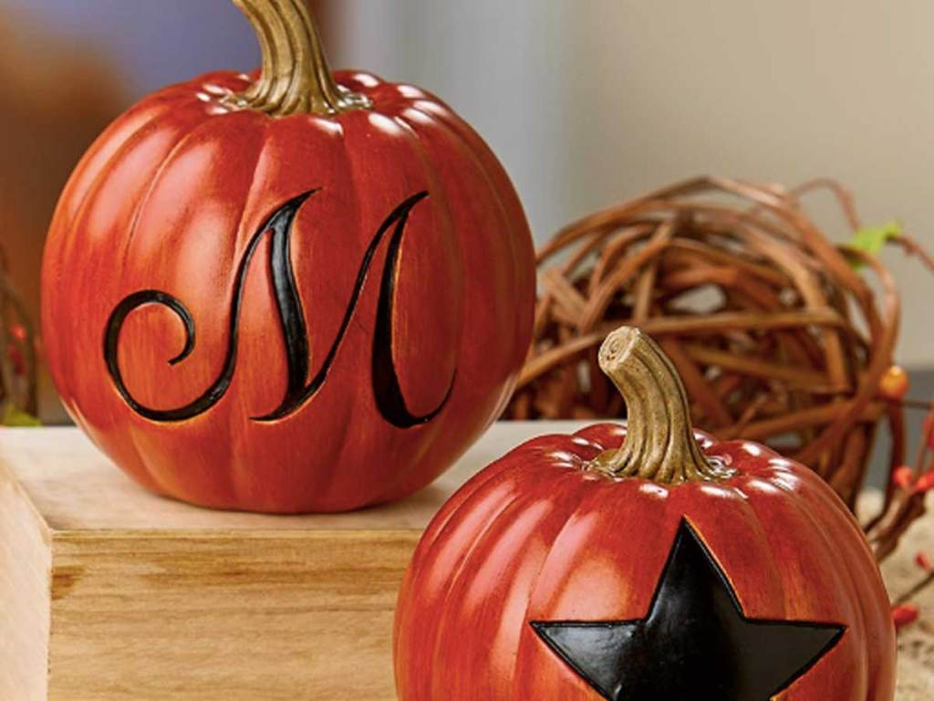 monogram pumpkins on a table
