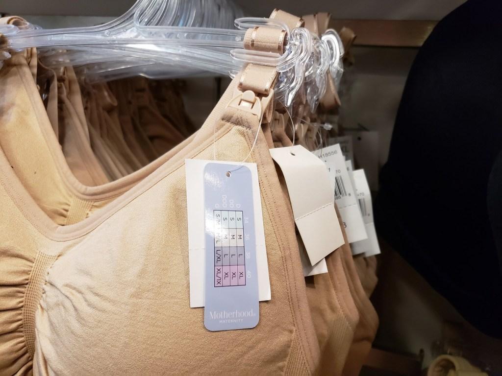 motherhood maternity bra nude on hanger