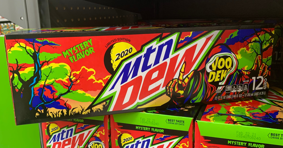case of soda sitting on store display