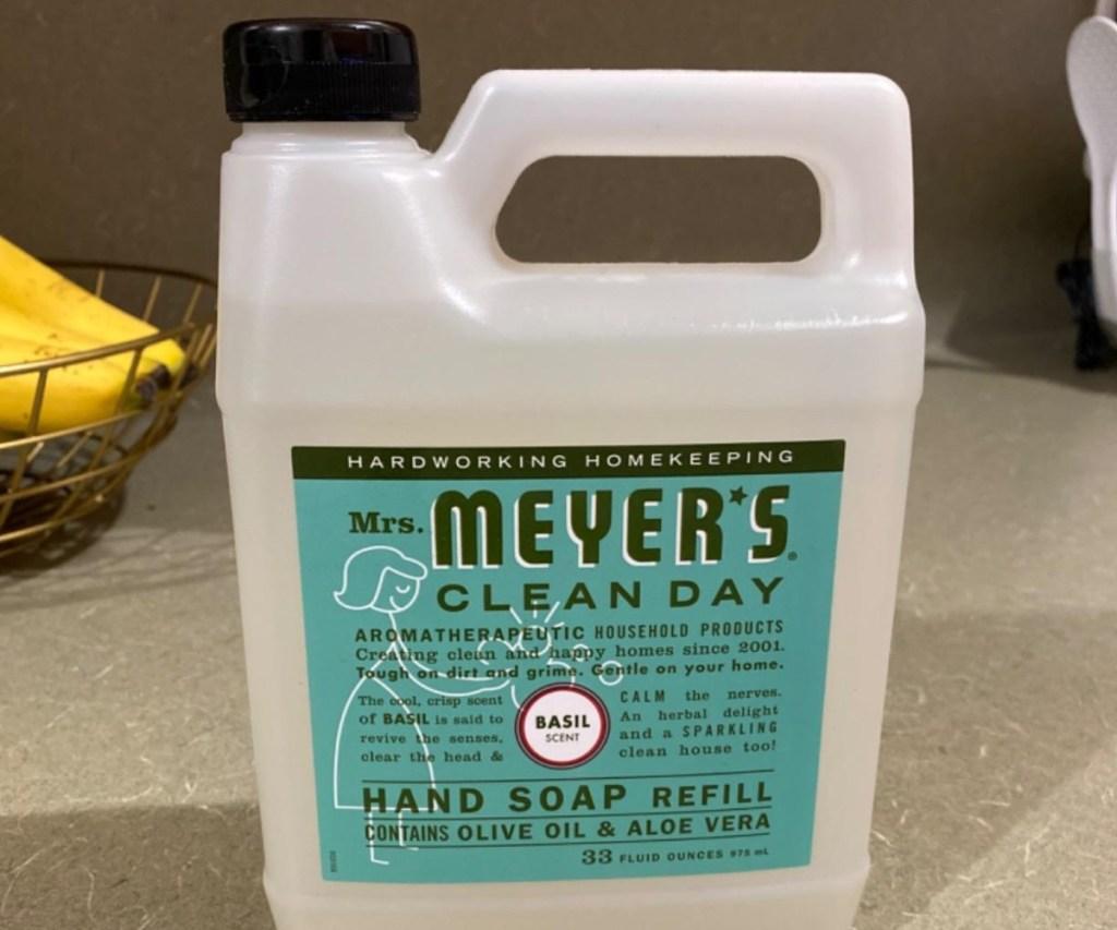 jug of Mrs. Meyer's soap refill