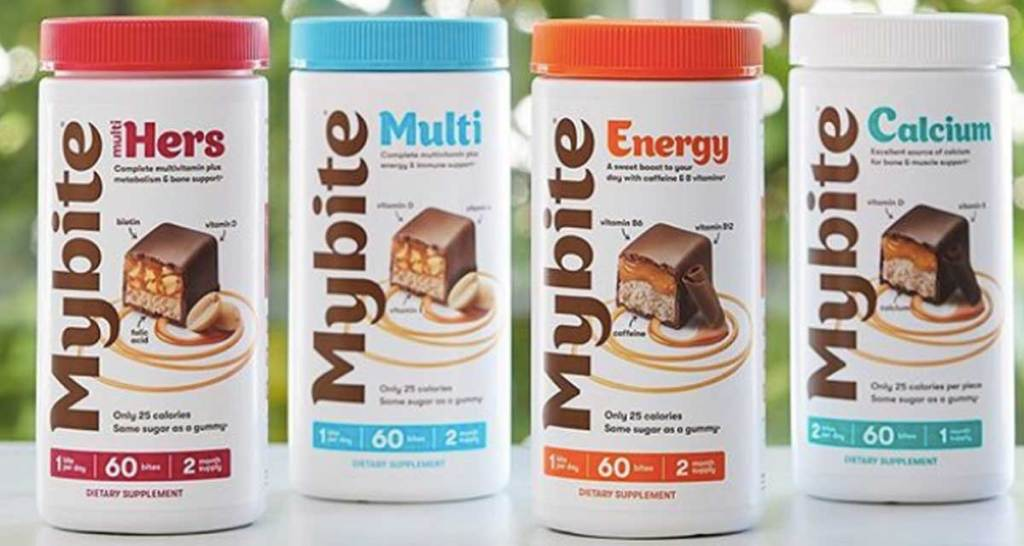 four bottles of mybite vitamins