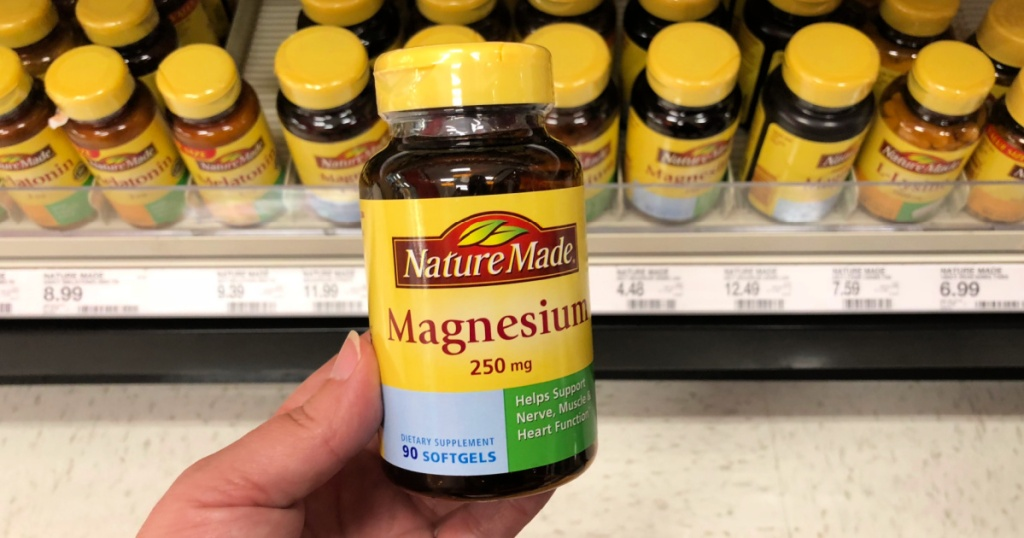 nature made magnesium 250mg 90 count bottle