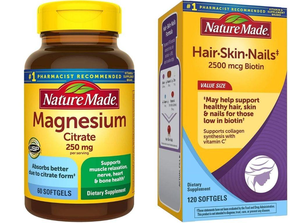 Nature Made Magnesium and Hair Skin Nails vitamins