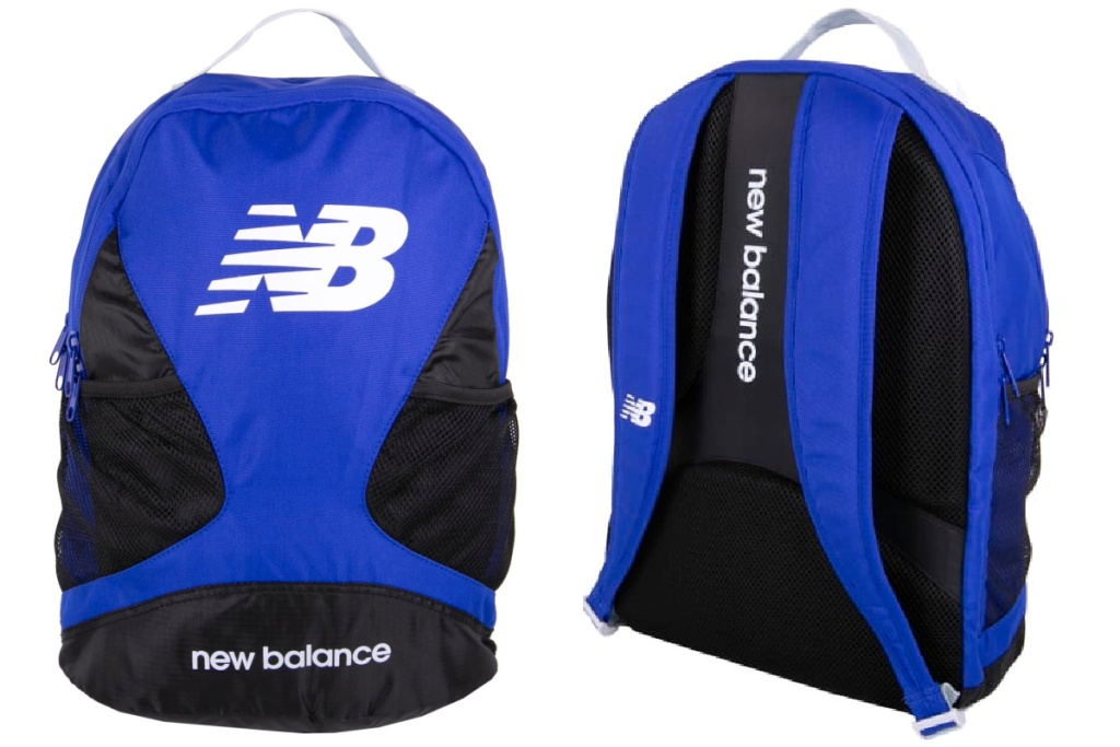 new balance blue backpack front and back