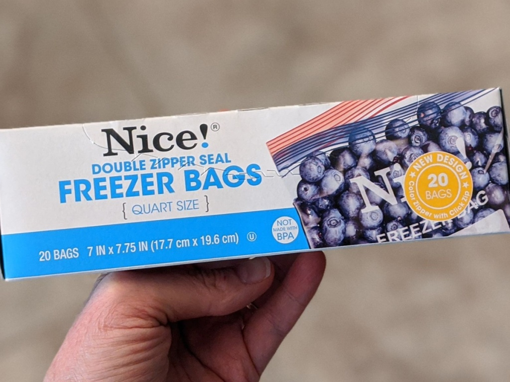 hand holding box of freezer bags