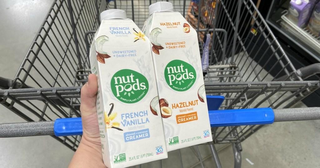 nutpods creamer in hand at Walmart