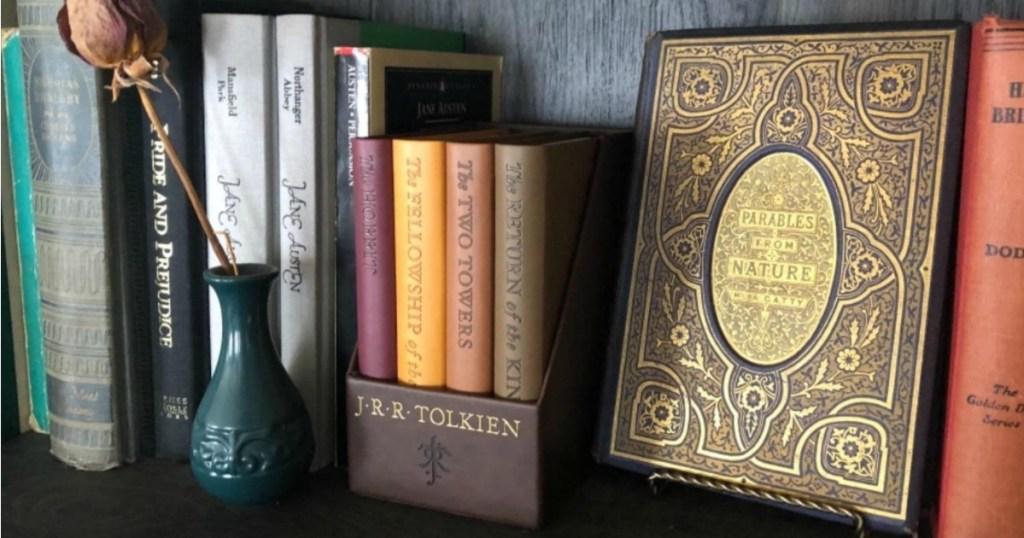 box set of books on a shelf