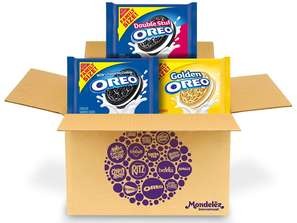 box showing 3 packs of Oreo brand cookies going in