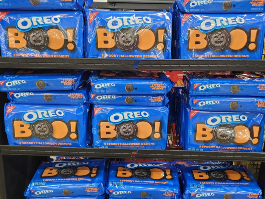 cookies on store shelf with Halloween theme