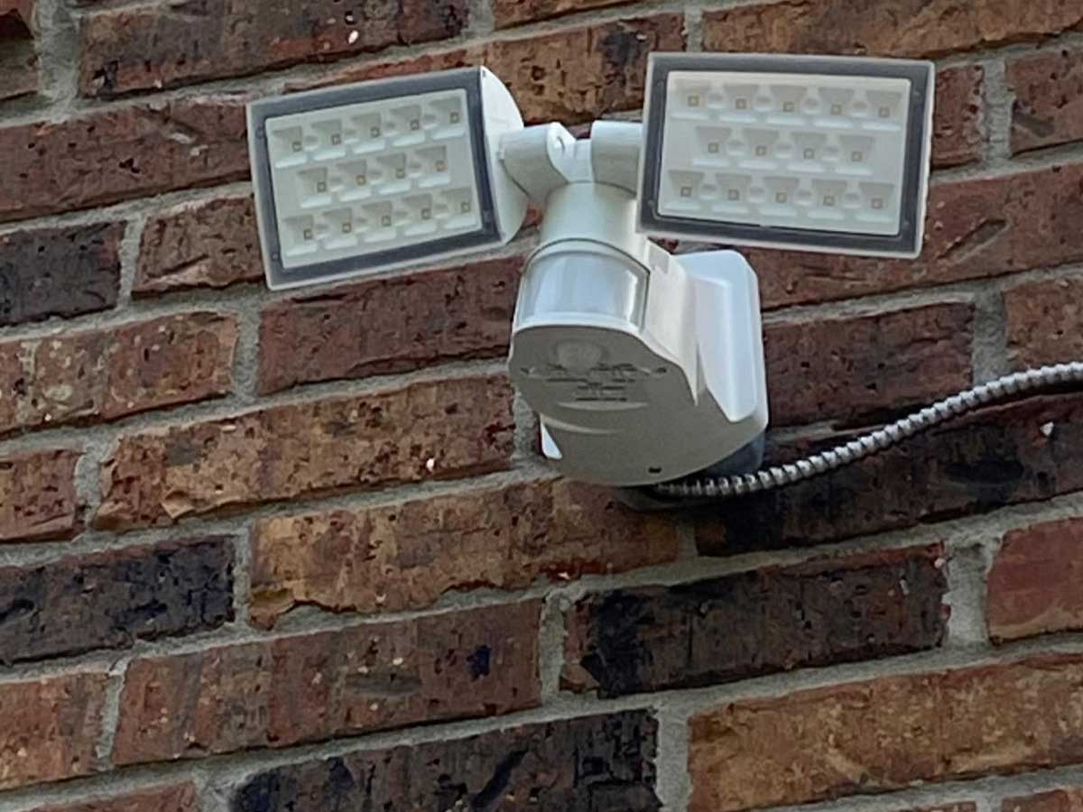 motion activated lights on brick wall
