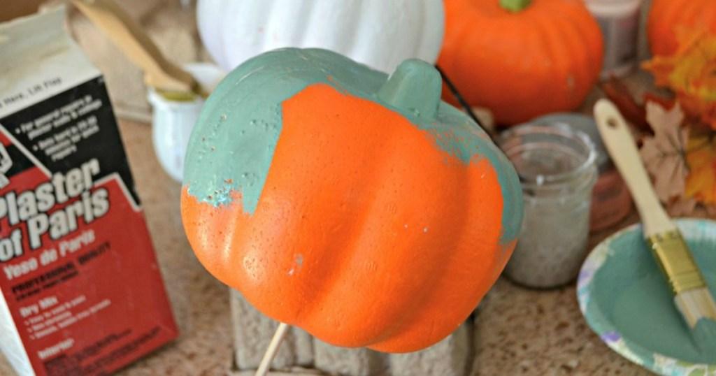 painting dollar tree pumpkin