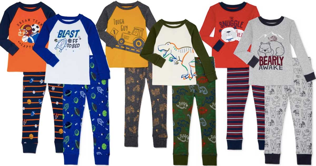 boys pajamas wonder nation 4 piece sets stock images