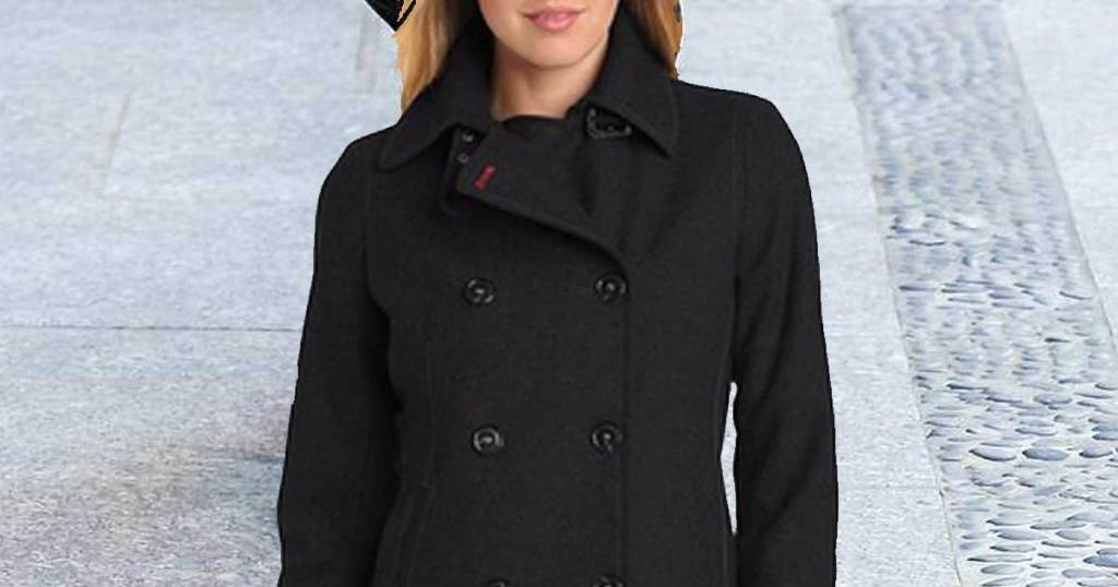 woman wearing a peacoat