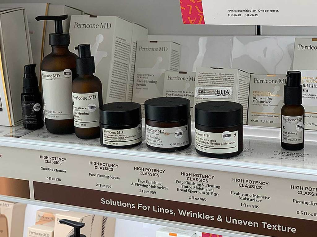 product and lotion line for wrinkles