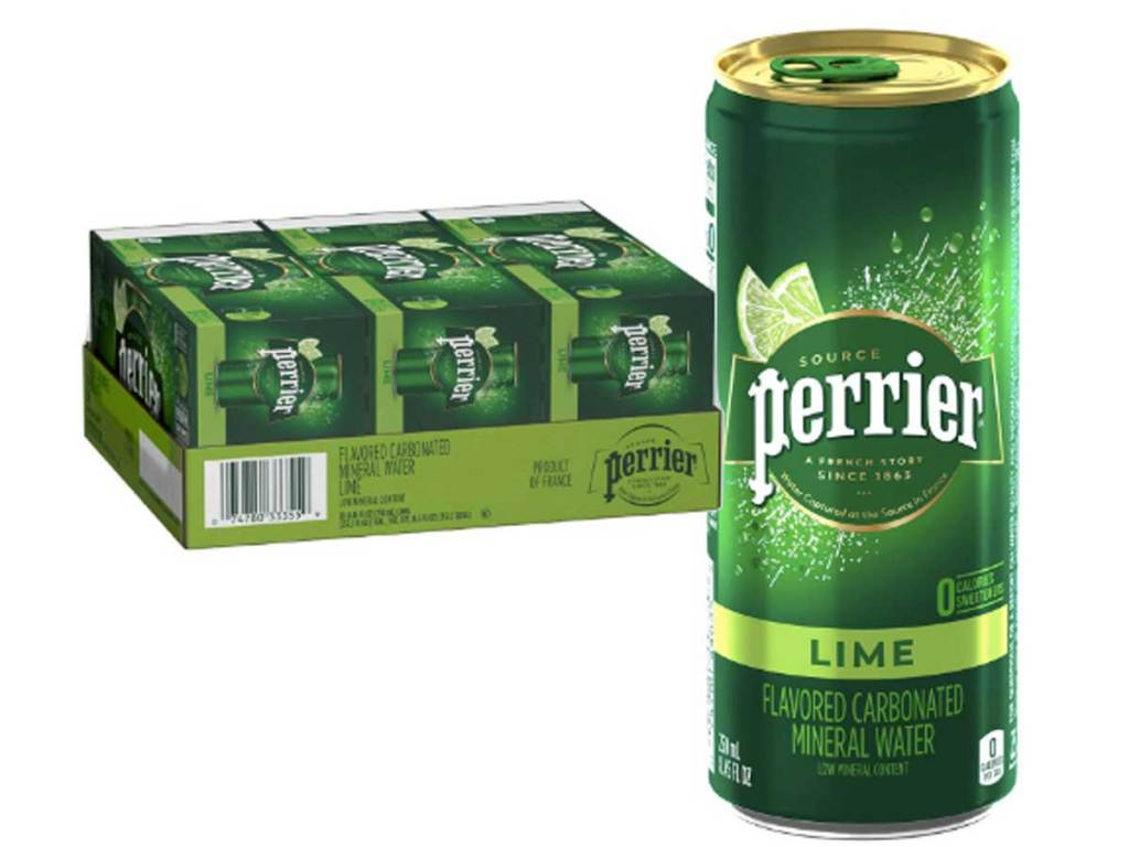 stock image of sparkling water lime flavored
