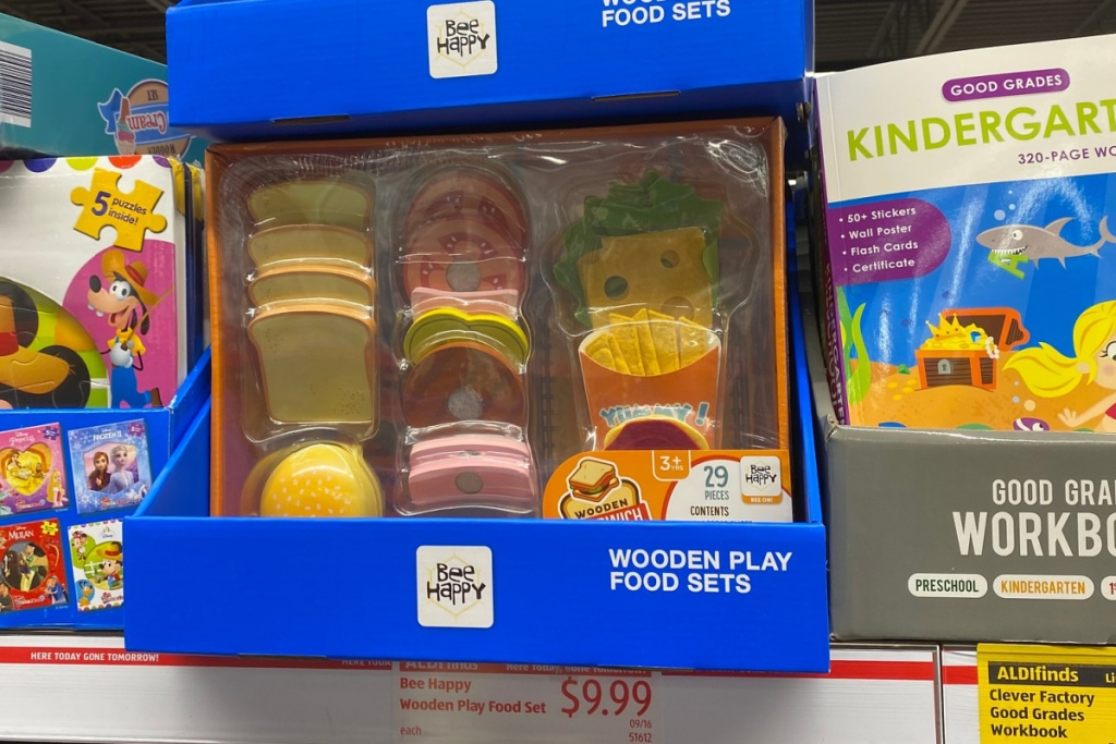 play food at ALDI burger set on shelf