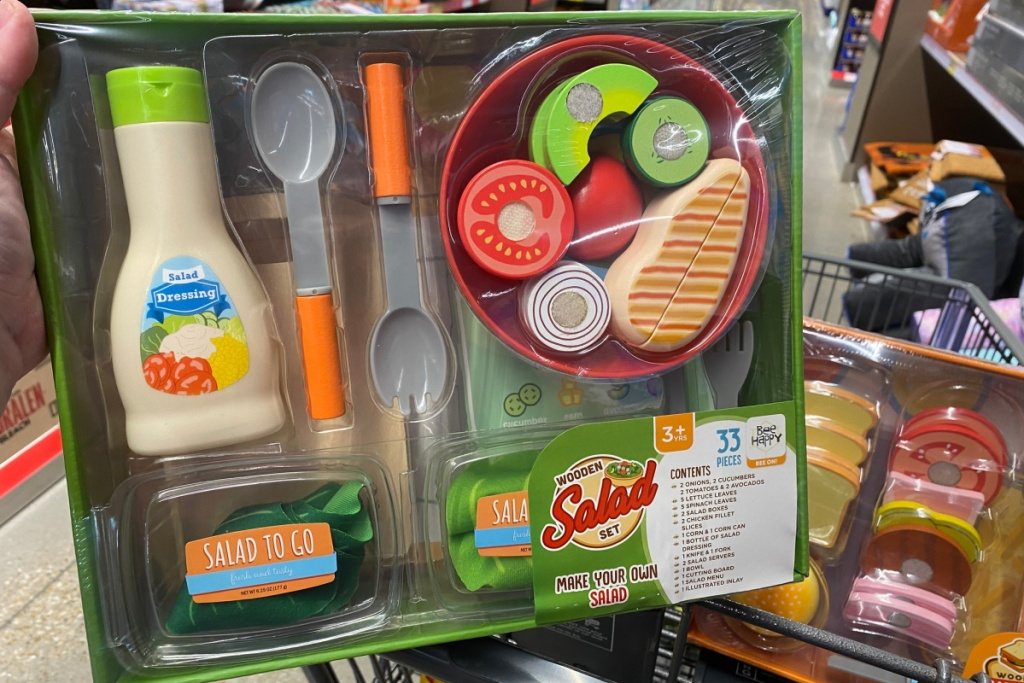 play food salad set on shelf