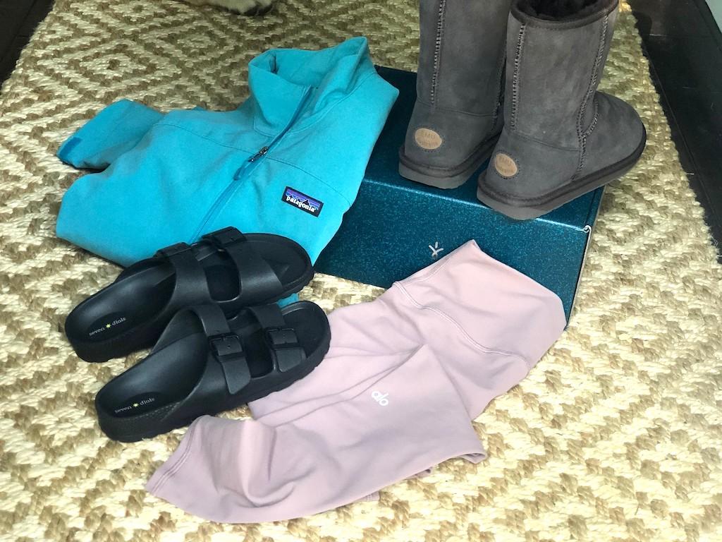 Patagonia sweatshirt, boots, leggings, and more