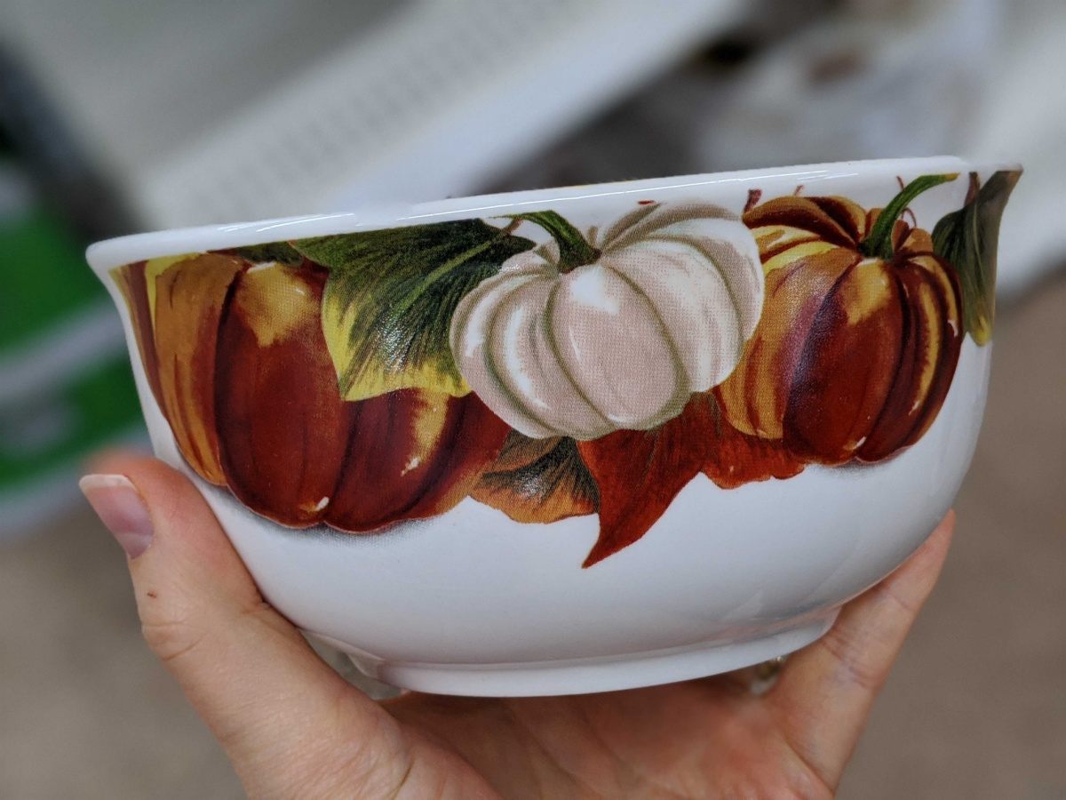 hand holding bowl with pumpkins painted on it