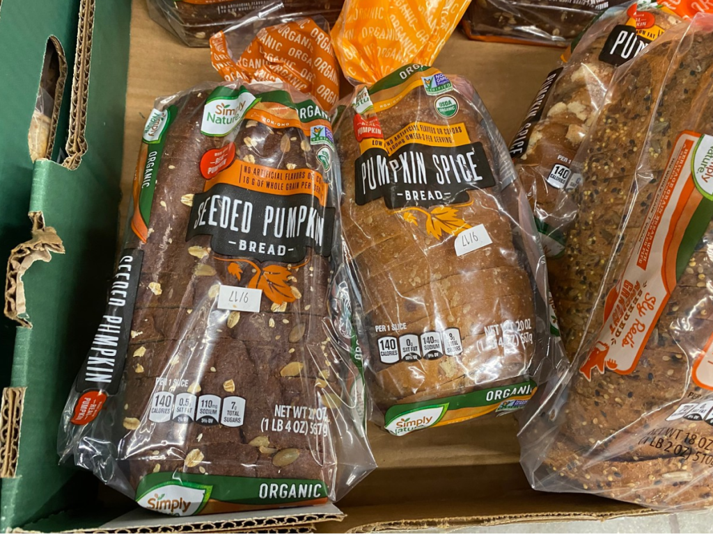 loaves of bread sitting in store display