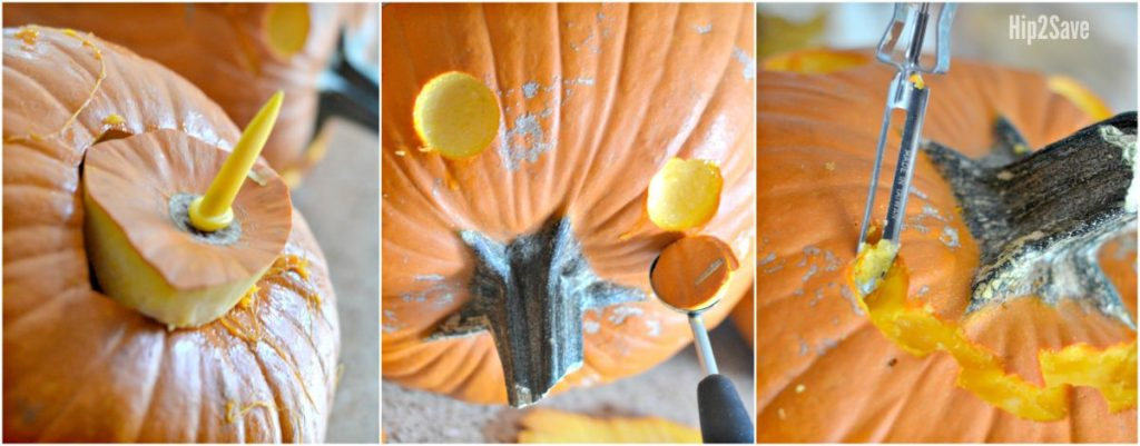 carving pumpkins and stems