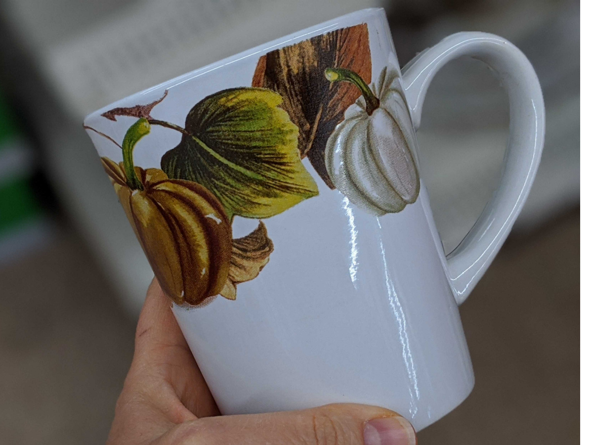 hand holding mug with pumpkins painted on it