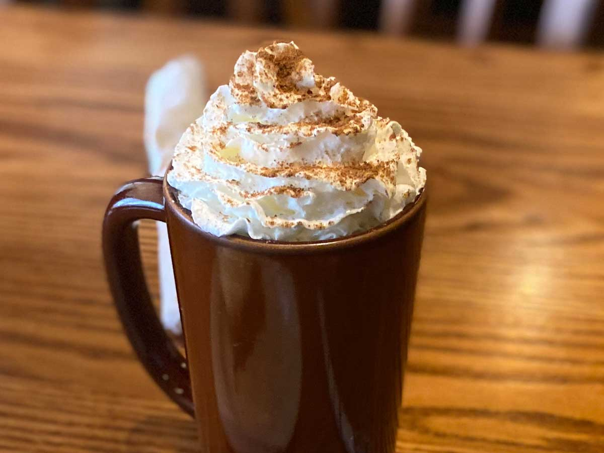 close up of a brown mug with whipped cream sprinkled with cinnamon on a table top