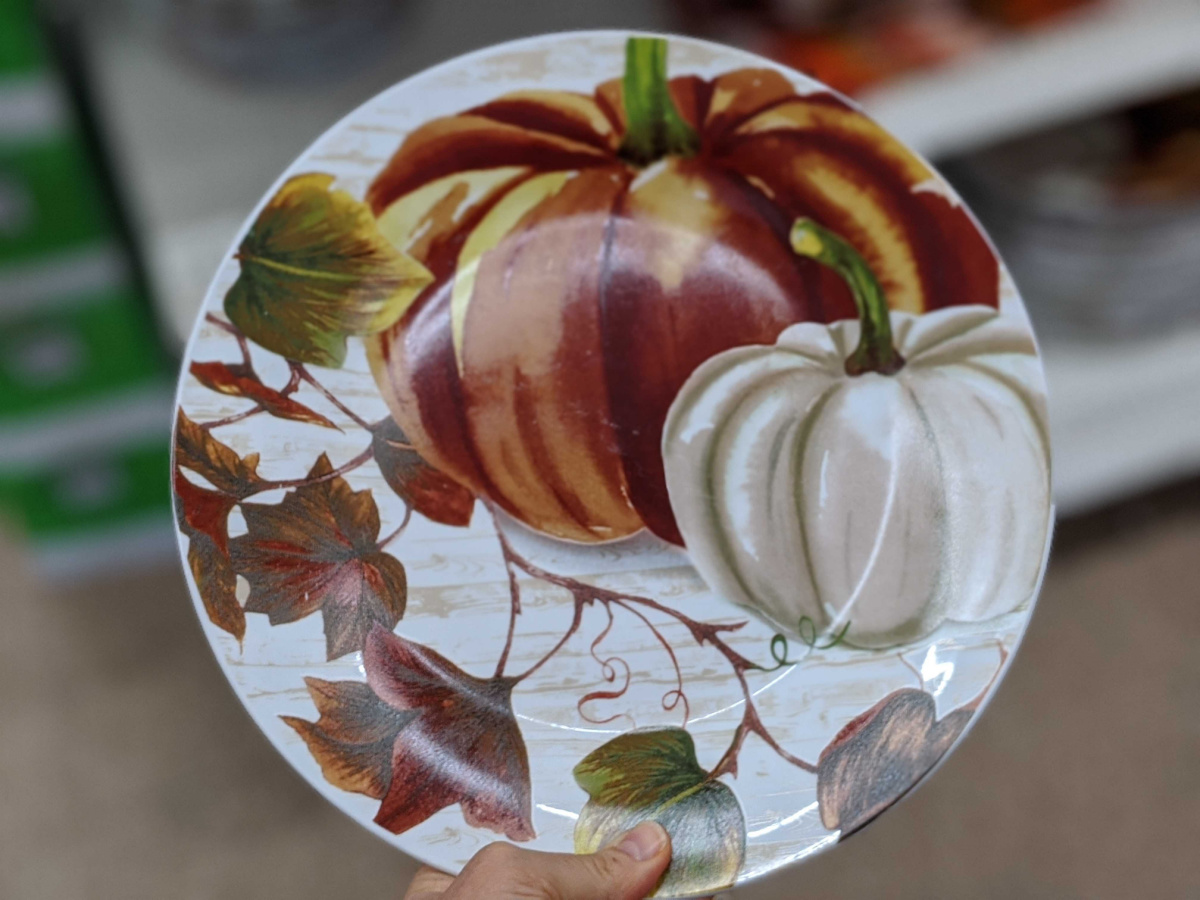 hand holding plate with pumpkins painted on it