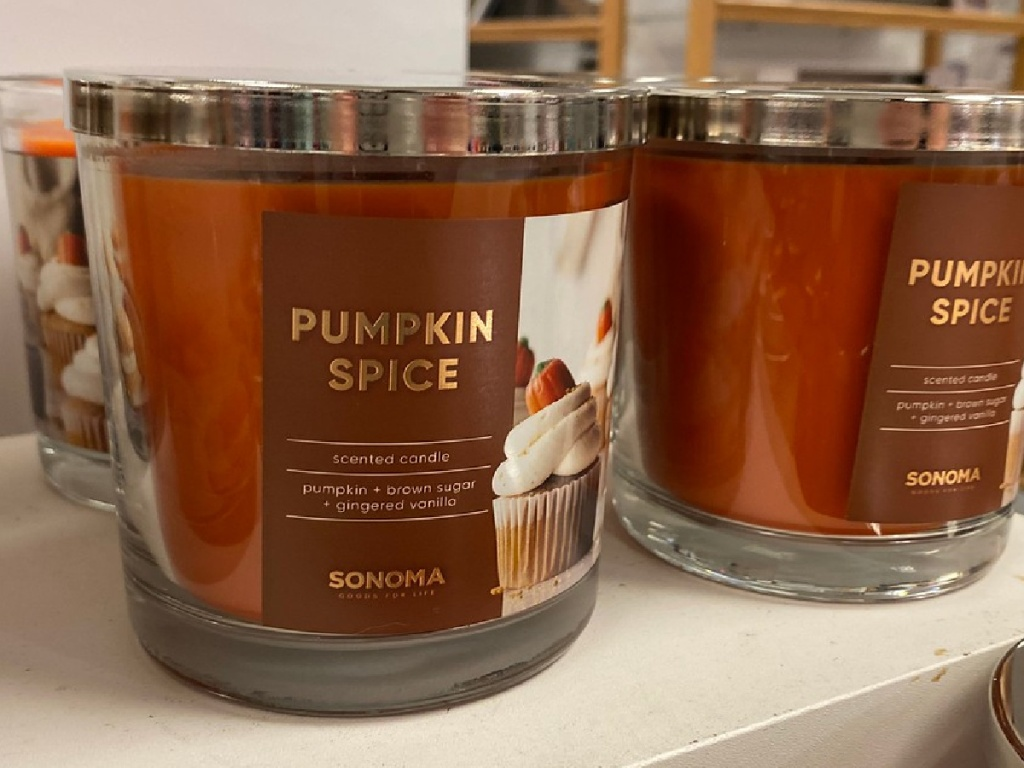 candle on shelf in store