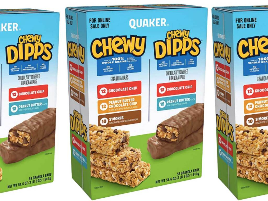 stock image of boxes of quaker granola bars