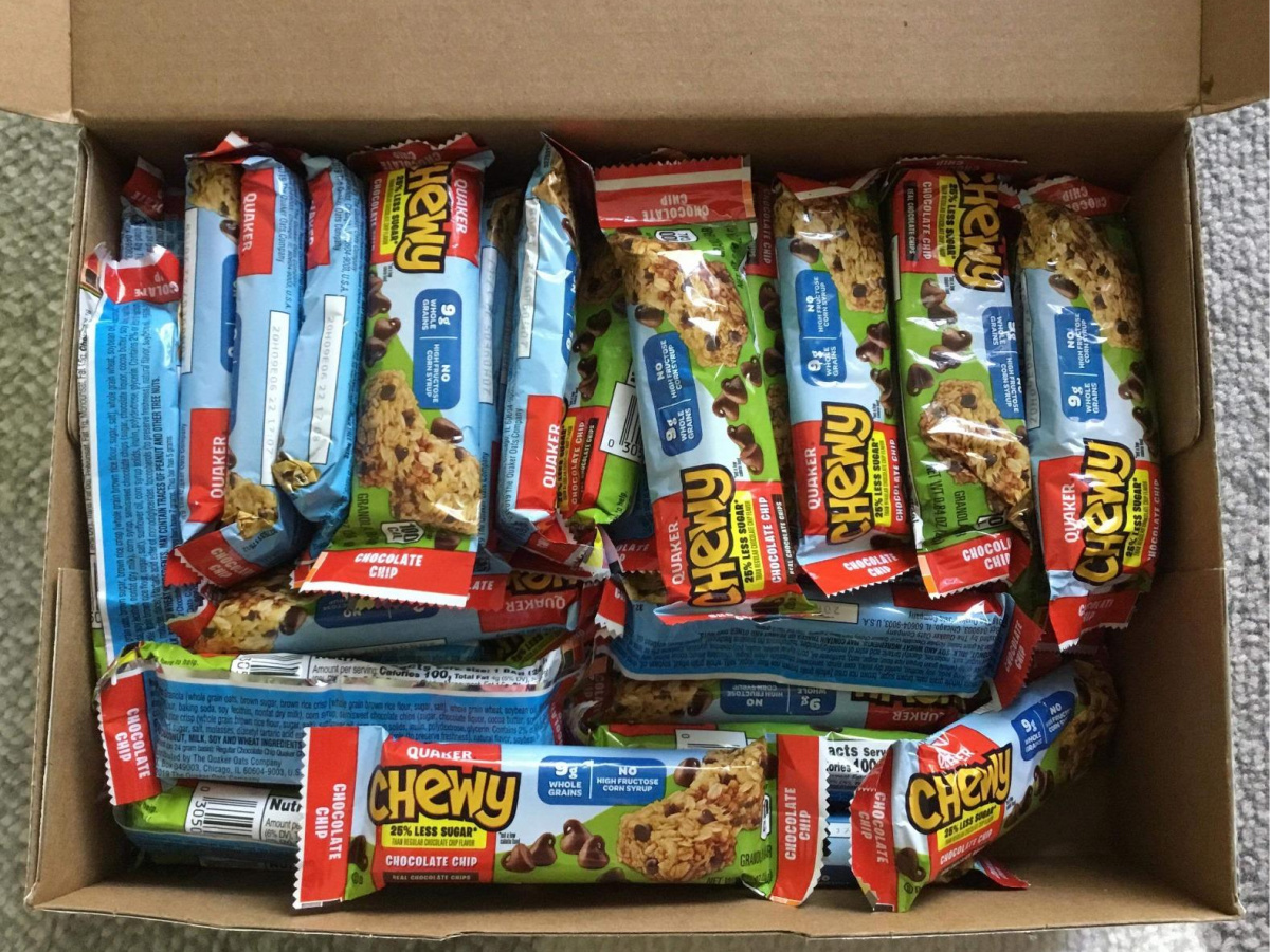 box filled with granola bars