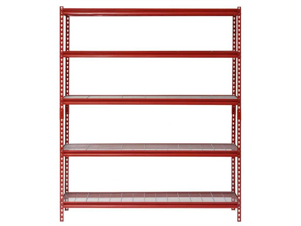 red 5 shelf storage unit