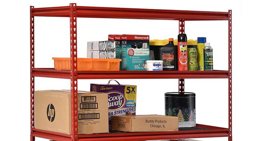 red storage rack with items on it