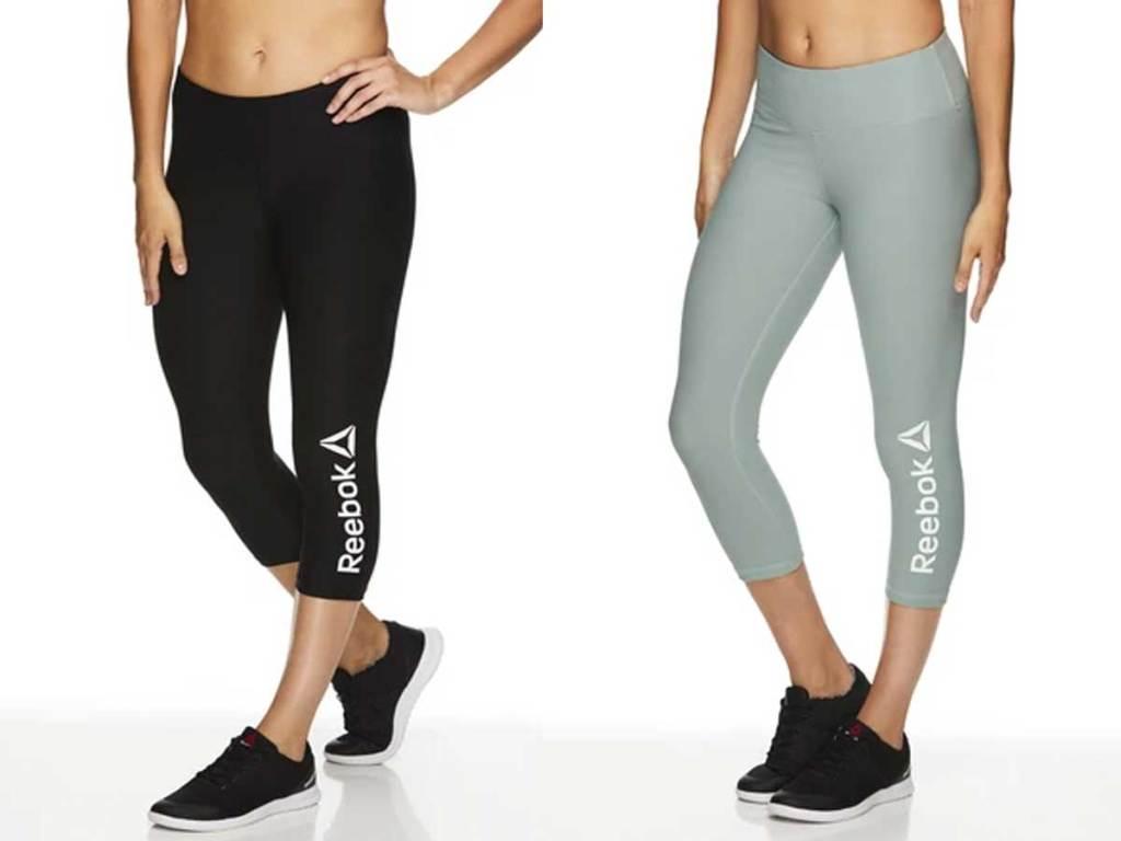 models wearing black and gray capri leggings