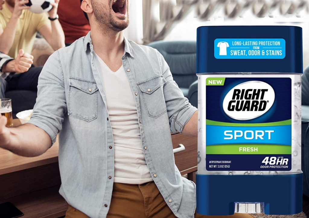 right guard deodorant with guy cheering